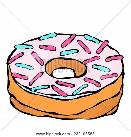 Sweet Donut With Ligth Pink Sugar Glaze And Confetti Topping. Pastry Shop, Confectionery Design. Rou