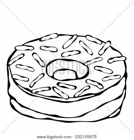 Sweet Donut With Sugar Glaze And Topping. Pastry Shop, Confectionery Design. Round Doughnut With Hol