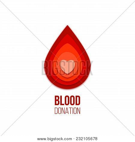 Blood Donation Icon. Vector Red Blood Drop With Heart Inside
