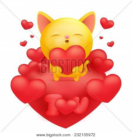Yellow Cat Cartoon Emoji Character Holding Red Heart. Vector Illustration