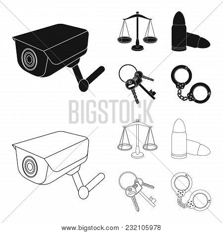 Scales Of Justice, Cartridges, A Bunch Of Keys, Handcuffs.prison Set Collection Icons In Black, Outl