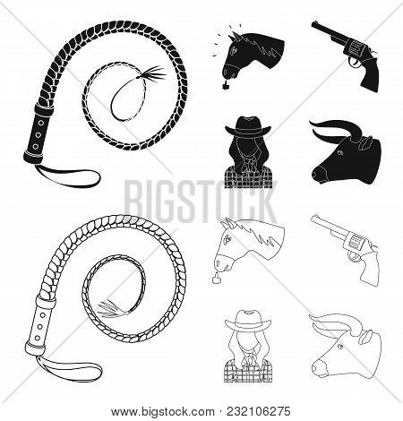Head Of A Horse, A Bull Head, A Revolver, A Cowboy Girl.rodeo Set Collection Icons In Black, Outline