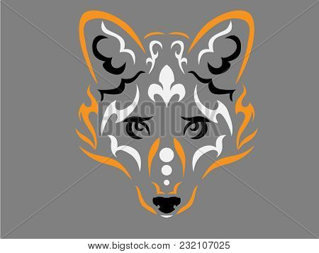 Tribal Fox Illustration, Fox In Tribal Style, Ornamental Fox Illustration, Fox Tattoo, Animal Tattoo
