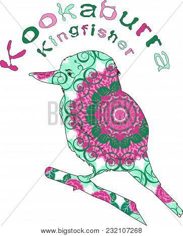 Laughing Bird. Australian Kookaburra, Abstract.postcard, Eco Logo, Emblem, Icon.