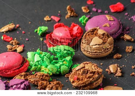 Still Life With Colored Crumbed Macaroons On  Black Background, Closeup, Horizontal.