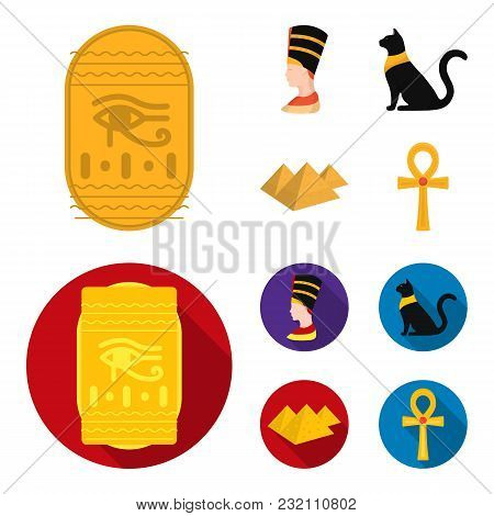 Eye Of Horus, Black Egyptian Cat, Pyramids, Head Of Nefertiti.ancient Egypt Set Collection Icons In