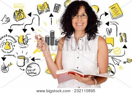 Portrait Of Beautiful School Teacher Holding Books And Pointing Somewhere. Education Concept. Isolat