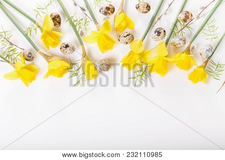Spring Floral Border, Beautiful Fresh Daffodils Flowers, Eggs, Hearts Isolated On White Background.