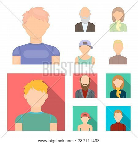 Boy In A Cap, Redheaded Teenager, Grandfather With A Beard, A Woman.avatar Set Collection Icons In C