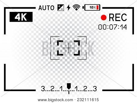 4k Resolution Video Camera Rec Viewfinder Aperture Hole On Transparent White Background. Record Fram