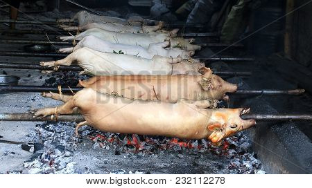 Raw Lechon Being Roasted In Charcoal Pit. It Is A Pork Dish Prepared During Festivals In Regions Mos