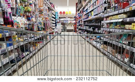 Piatra Neamt, Romania - March 16: Back To School Concept, Shopping Cart At Stationery Department In