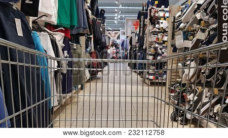 Piatra Neamt, Romania - March 16: Shopping Cart At Clothes Department In Shopping Center On March 16