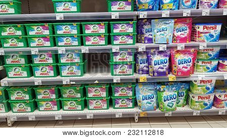 Piatra Neamt, Romania - March 16: Laundry Detergent Line In A Store Shelf, Supermarket Aisle In Shop