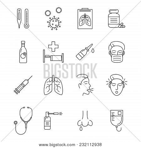Transport Signs Black Thin Line Icon Set Include Of Lung, Fever, Head, Microbe And Mask. Vector Illu