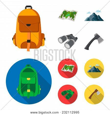 Backpack, Mountains, Map Of The Area, Binoculars. Camping Set Collection Icons In Cartoon, Flat Styl