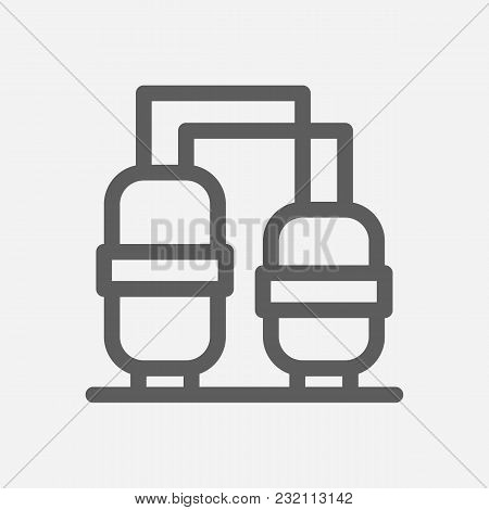 Oil Refinery Station Icon Line Symbol. Isolated Vector Illustration Of Powerhouse Sign Concept For Y