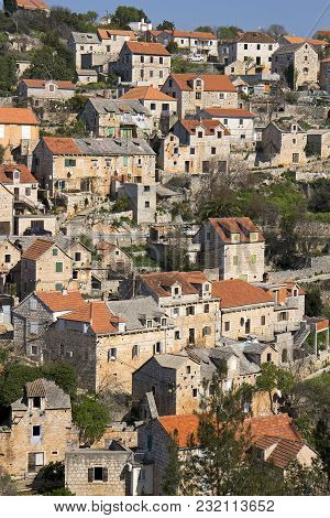 Picturesque Village Lozisca In The Hills On West Side Of Island Brac In Croatia