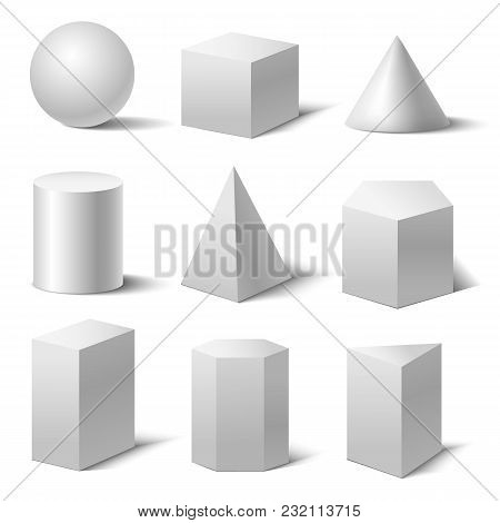 Realistic Detailed 3d White Basic Shapes Set Isolated On White Background Include Of Cube, Cylinder,