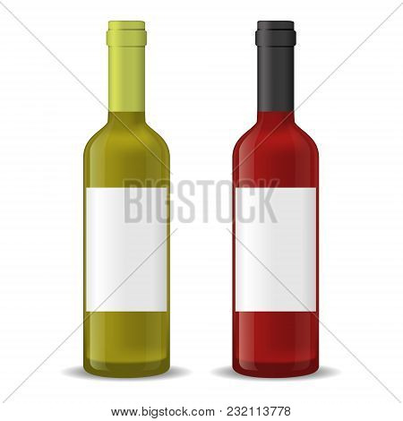 Realistic Detailed 3d Wine Bottles Set Red And White Alcohol Beverage For Celebration. Vector Illust