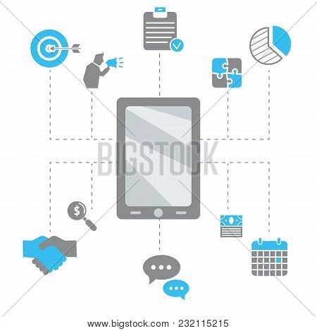 Internet Business Concept. Background With Business And Finance Icons.
