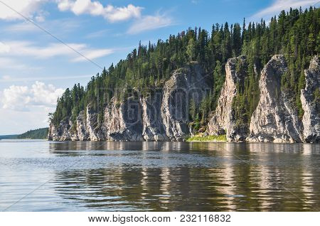 Virgin Komi Forests, Scenic Cliffs On The Taiga River Shchugor. The Object Of Unesco World Heritage