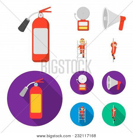Fire Extinguisher, Alarm, Megaphone, Fireman On The Stairs. Fire Departmentset Set Collection Icons