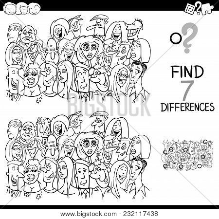 Differences Game With People Group Coloring Book