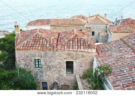 Landscape Of Monemvasia Castle Lakonia Peloponnese Greece