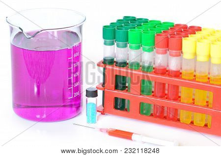 Set Of Chemical Test Tubes With Different Colors Chemicals And Chemical Beaker With Permanganate Dis