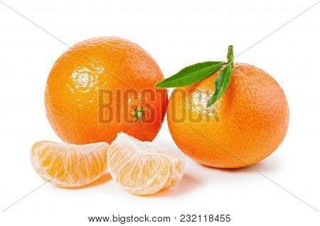 Tangerines Or Clementines With Green Leaf And Slices Isolated On White Background