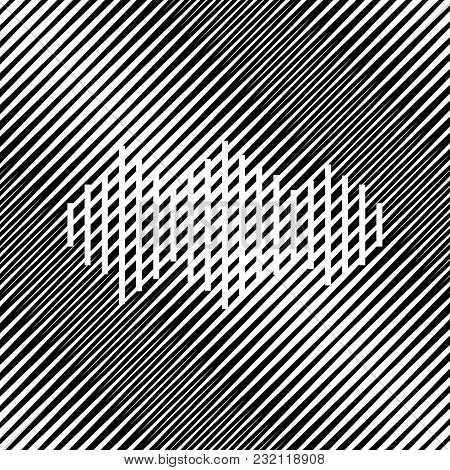 Sound Waves Icon. Vector. Icon. Hole In Moire Background.