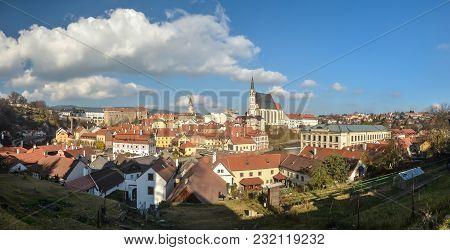 Panorama Of Cesky Krumlov. The City Is A Unesco World Heritage Site.