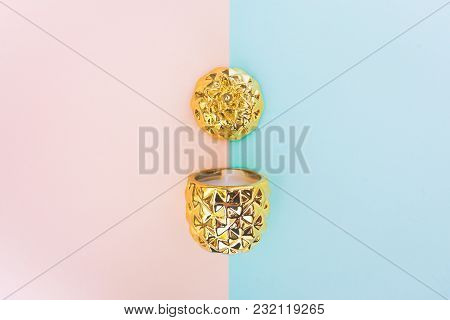 Pineapple On Pastel Background. Minimal Abstract Style.