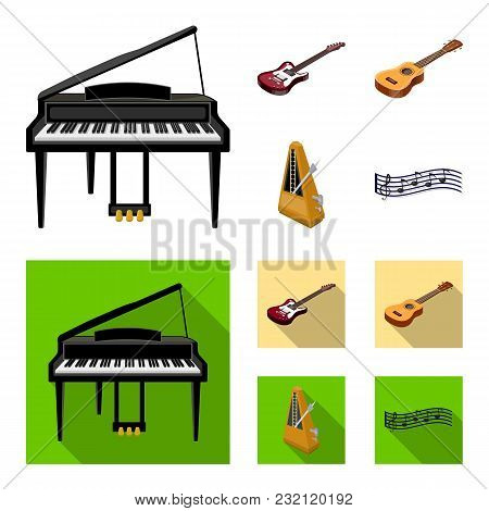 Musical Instrument Cartoon, Flat Icons In Set Collection For Design. String And Wind Instrument Isom