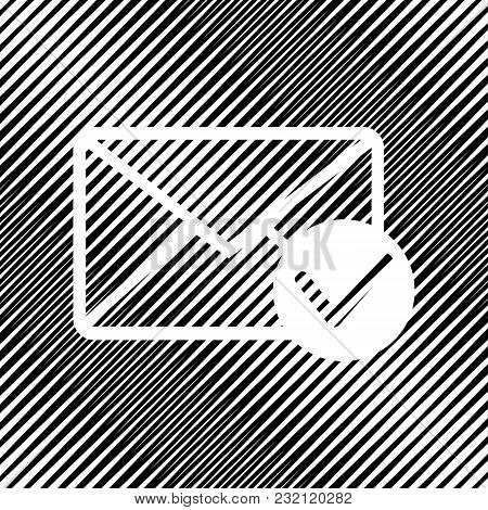 Mail Sign Illustration With Allow Mark. Vector. Icon. Hole In Moire Background.