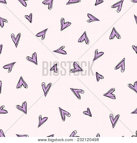 Abstract Doodle Pattern With Hand Drawn Hearts. Seamless Pink Doodle Pattern.