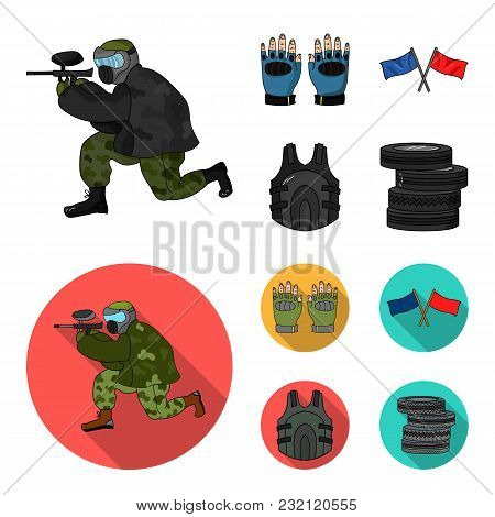 Sport, Game, Paintball, Competition .paintball Set Collection Icons In Cartoon, Flat Style Vector Sy