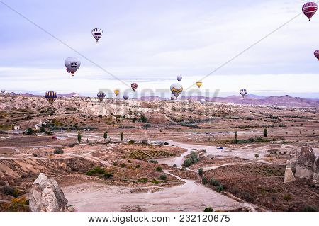 Goreme, Cappadocia / Turkey - October 25, 2015: Panoramic View Of Cappadocia. Cappadocia Is Known Ar
