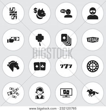 Set Of 16 Editable Gambling Icons. Includes Symbols Such As Horse Riding, 7 Number, Clover And More.