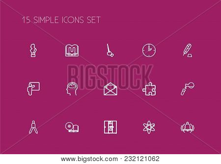 Set Of 15 Editable Teach Icons Line Style. Includes Symbols Such As Compass, Compact Disk, Clock And