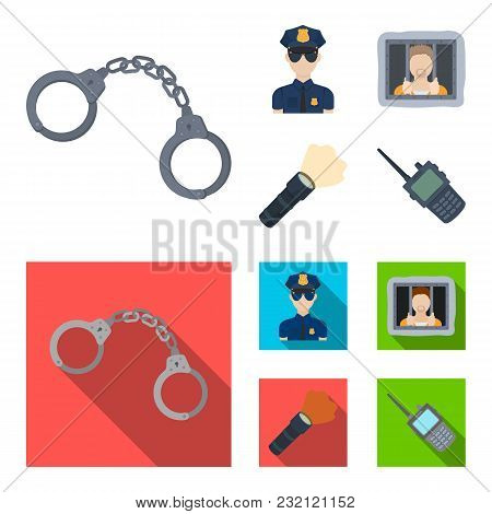 Handcuffs, Policeman, Prisoner, Flashlight.police Set Collection Icons In Cartoon, Flat Style Vector