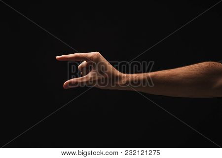 Male Hand Measuring Something, Cutout, Gesture