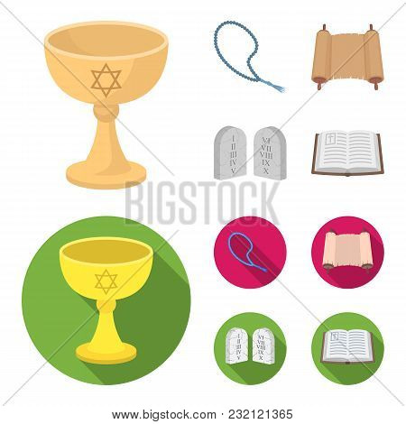 A Cup Of Wine, Islamic Beads, Ten Commandments, Tanakh. Religion Set Collection Icons In Cartoon, Fl