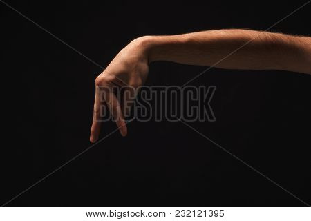 Walking Caucasian Male Fingers Isolated On Black Background. Going Small Man Made Of Hand, Copy Spac