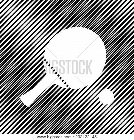 Ping Pong Paddle With Ball. Vector. Icon. Hole In Moire Background.