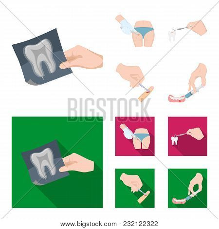 Tooth, X-ray, Instrument, Dentist And Other  Icon In Cartoon, Flat Style. Surgeon, Abscess, Scalpel