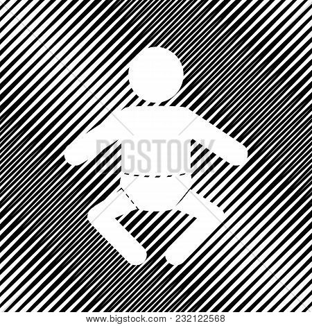 Baby Sign Illustration. Vector. Icon. Hole In Moire Background.