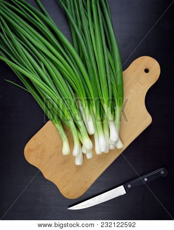 Green Onions. Food Background. Useful Products In A Rural Setting. Vitamins. Spice.