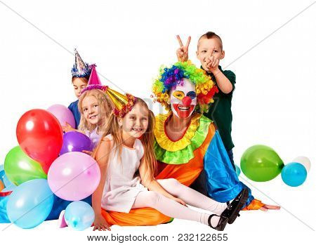 Birthday child clown playing with children and bunny fingers prank. Kid holiday cakes celebratory and balloons the happiest birthday. Mom arranged holiday for her daughter.